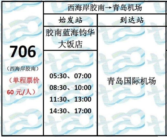 青岛黄岛到流亭机场大巴发车时刻表
