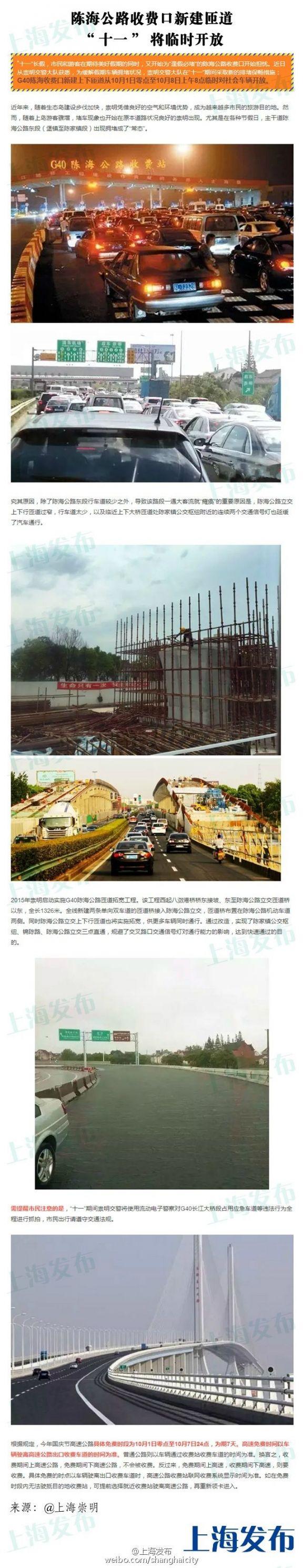 上海G40陈海公路收费口新建匝道国庆假期将临时开放