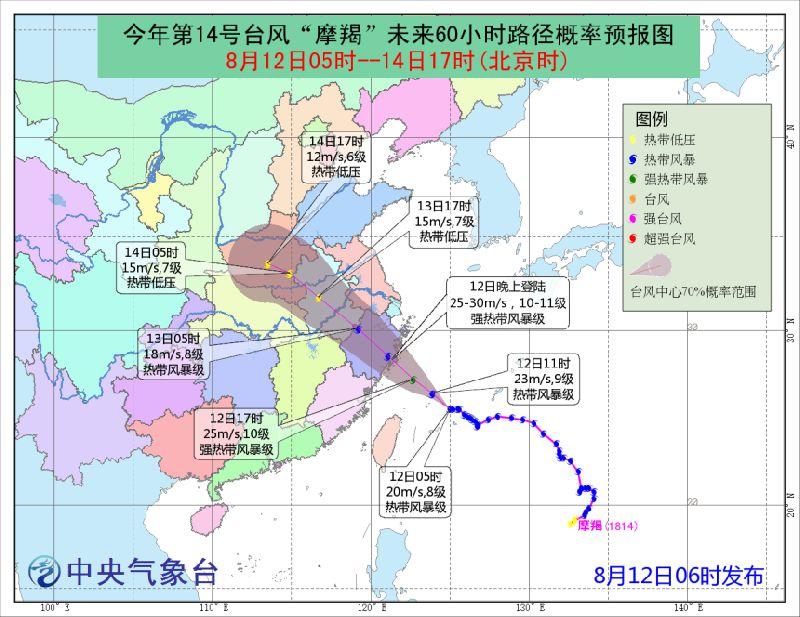 2018年第14号台风摩羯路径图一览(持续更新)