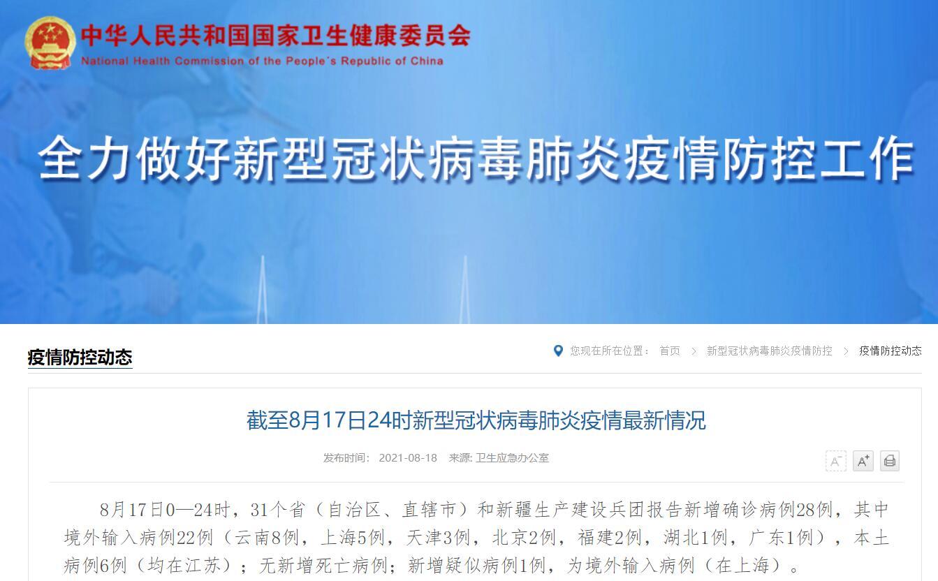 8月17日31省區市新增本土確診6例 均在江蘇