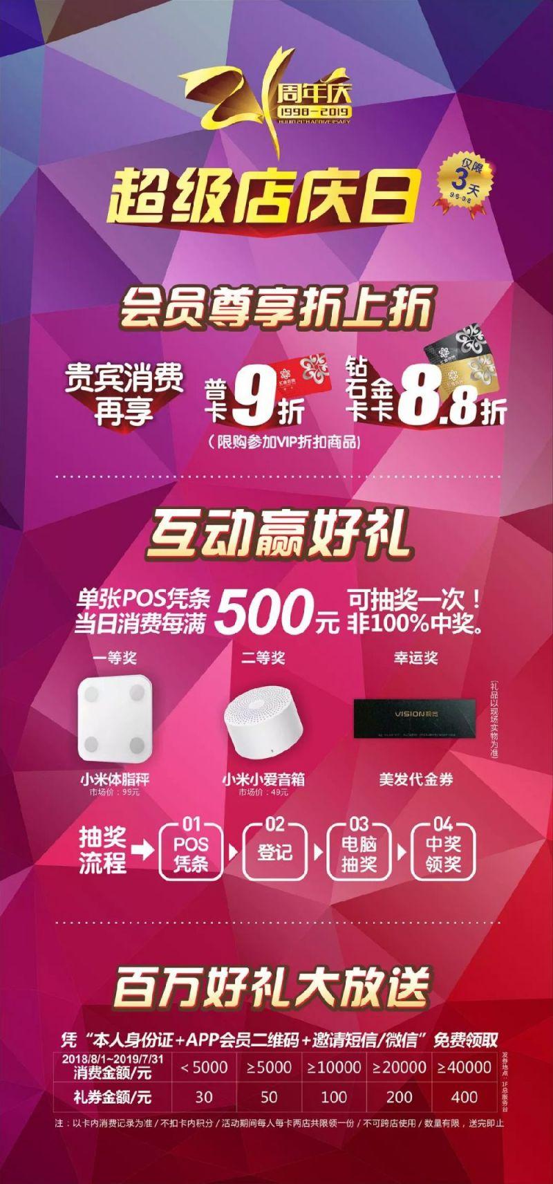 上海汇金百货21周年超级店庆日折扣