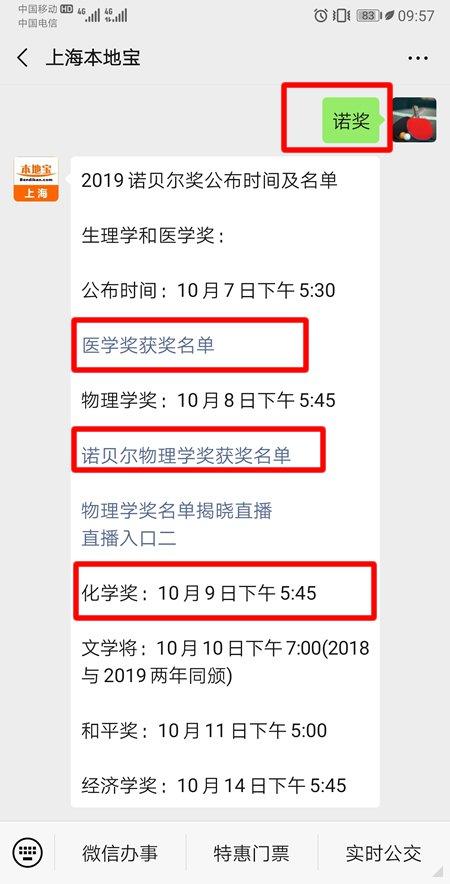 2019诺贝尔化学奖揭晓时间 10月9日公布