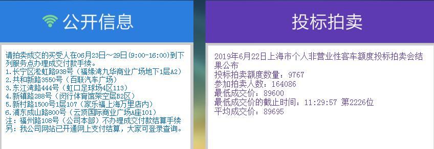 2019年6月上海拍牌结果公布 最低价89600元中标率6%