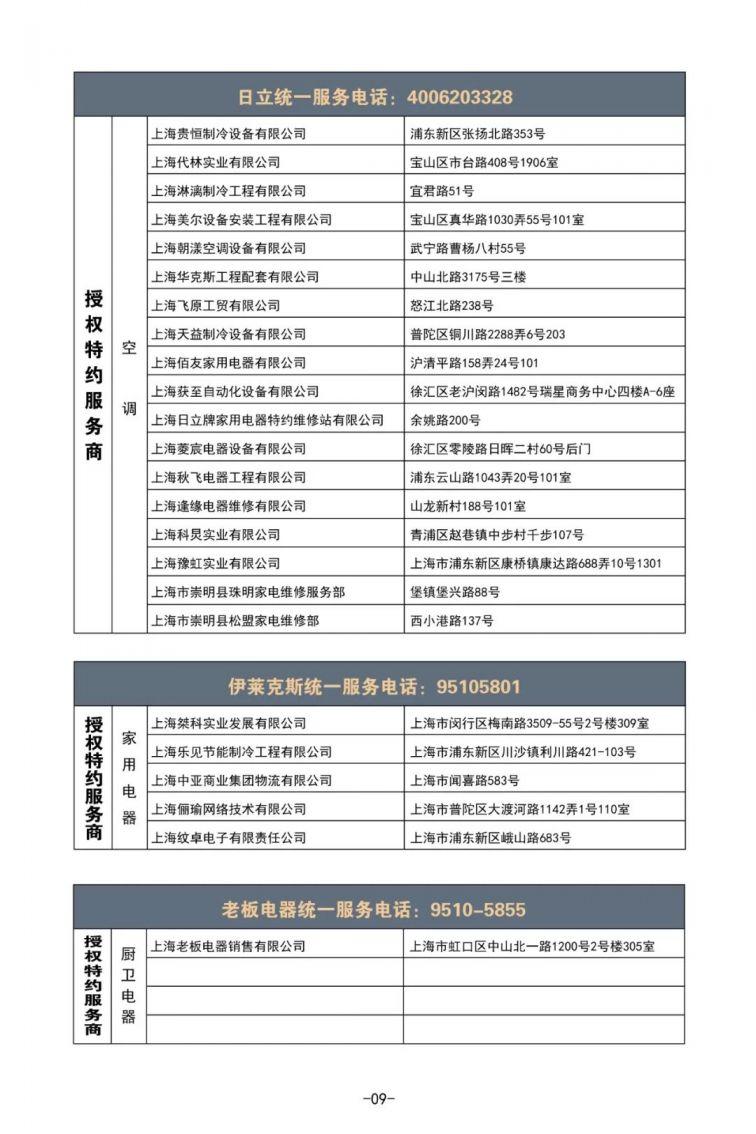 上海正规家电维修名单 服务电话 ( 477家)