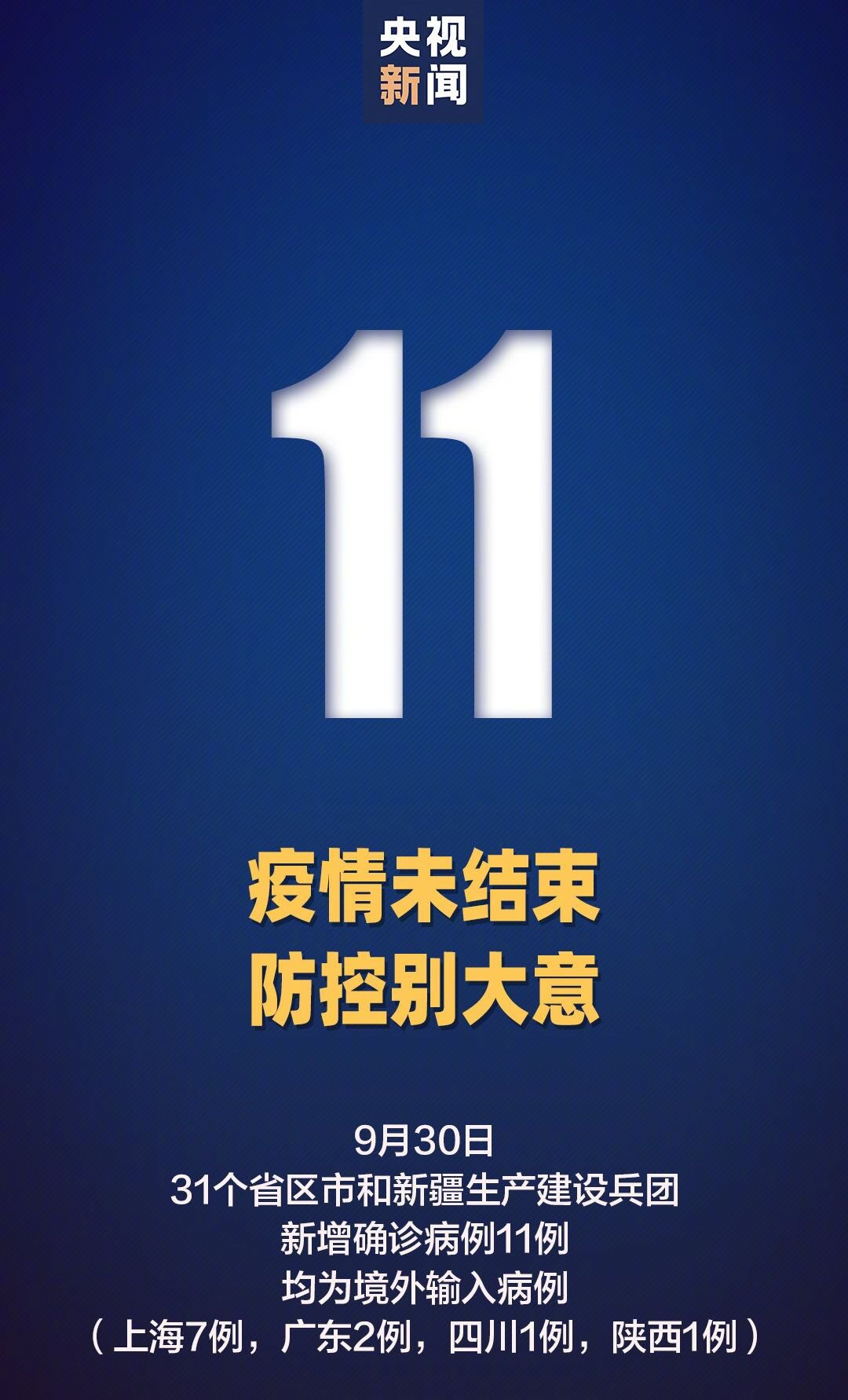 9月30日31省区市新增境外输入11例