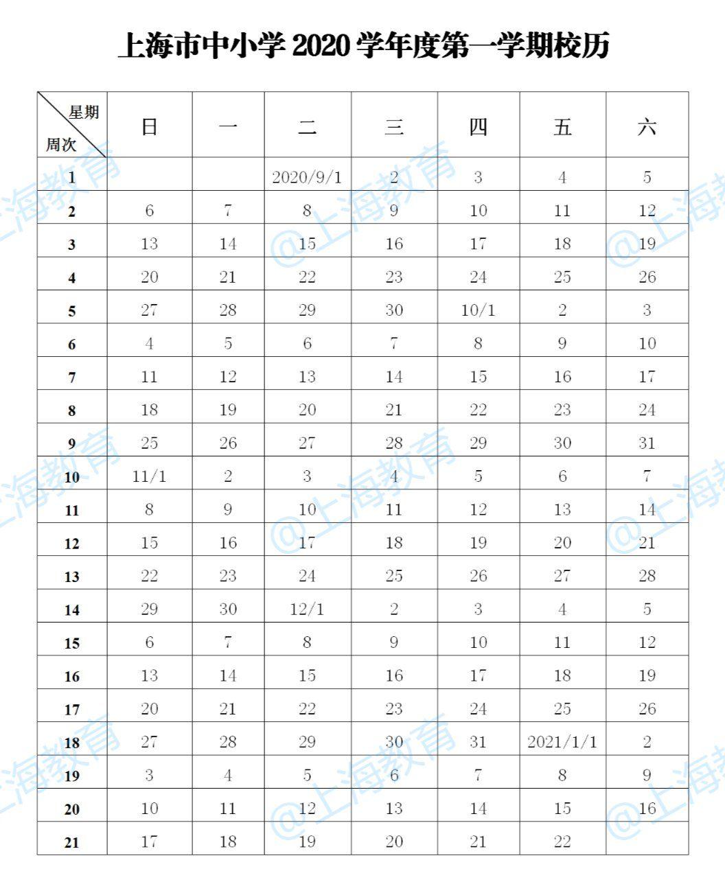 2021年上海中小学寒假放假时间
