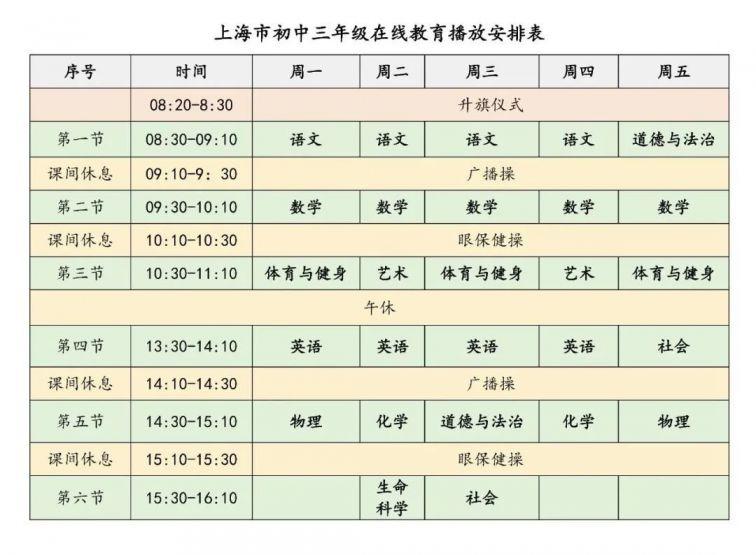 百视通tv_上海空中课堂九年级初三课程表- 上海本地宝