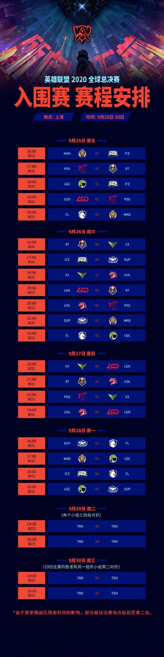 英雄联盟s10全球总决赛入围赛赛程表