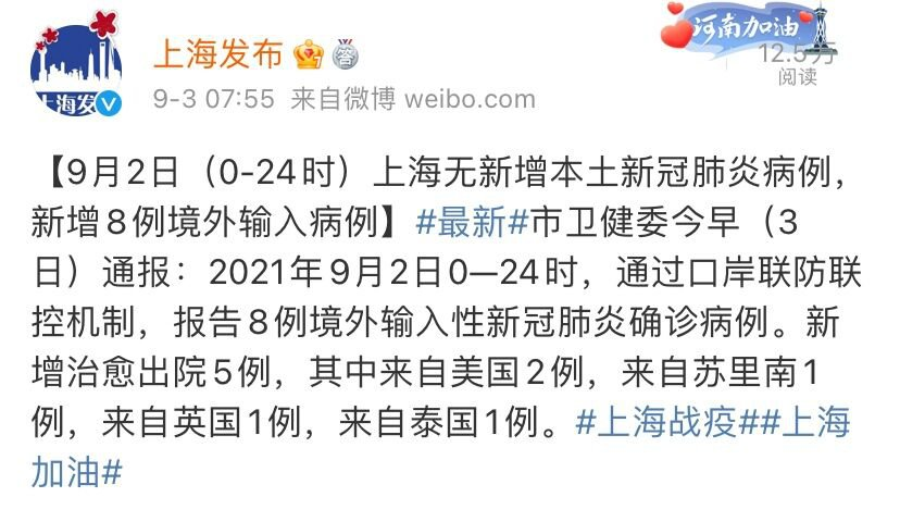 9月2日上海無新增本土確診病例 新增8例境外輸入
