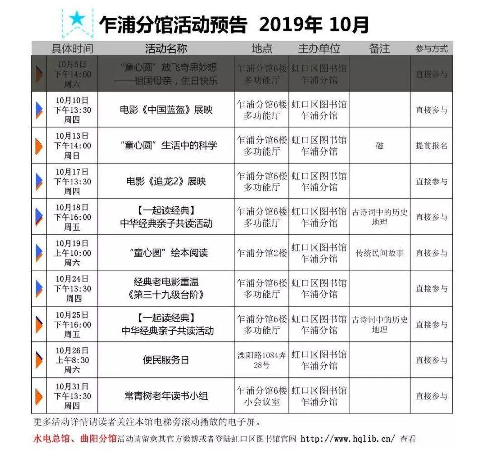 2019上海虹口图书馆10月活动攻略(时间+地点+参与方式)