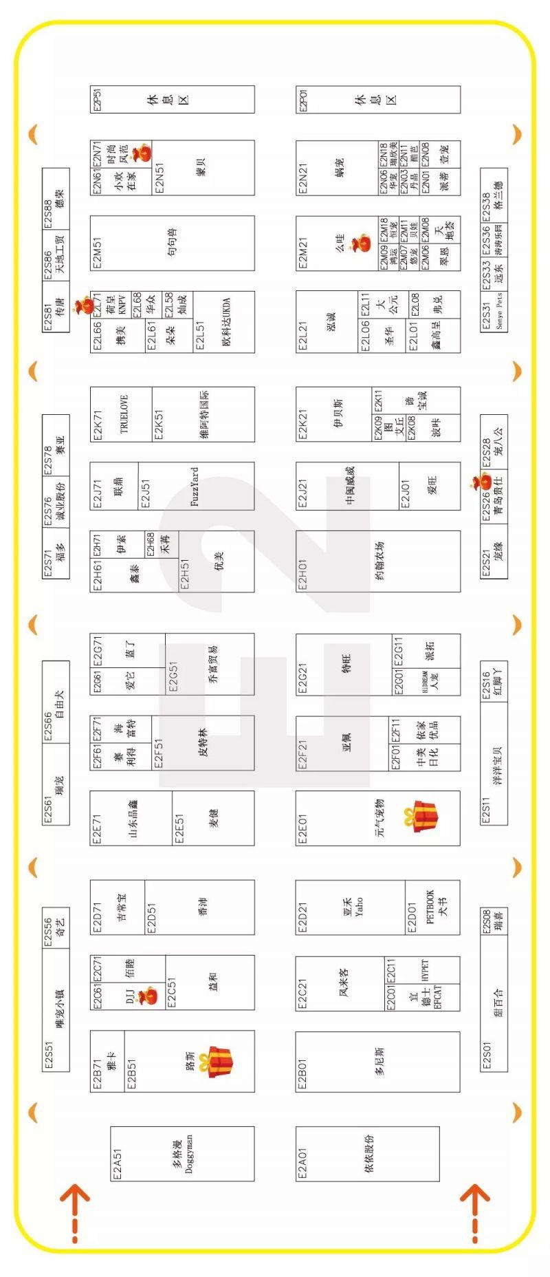 2019上海亚宠展14大展馆展位分布图