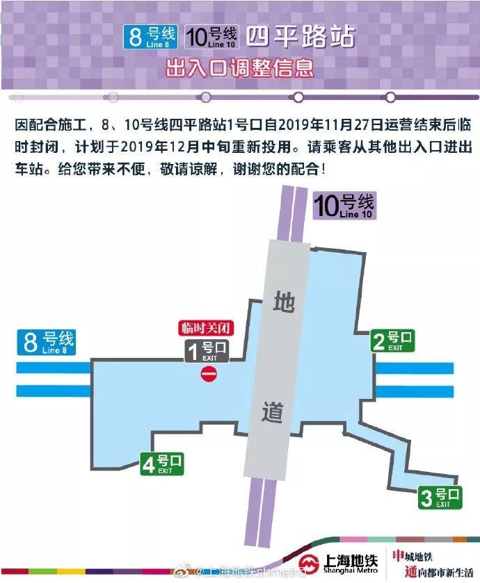 地铁8/10号线四平路站出入口调整 1号出入口关闭