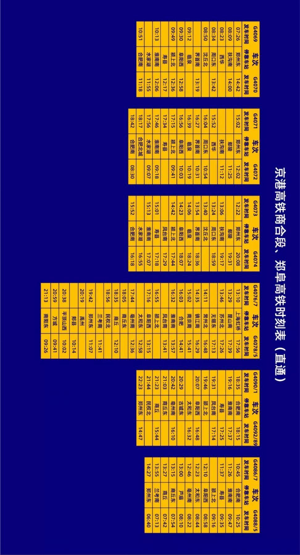京港高铁商合段、郑阜高铁列车时刻表一览