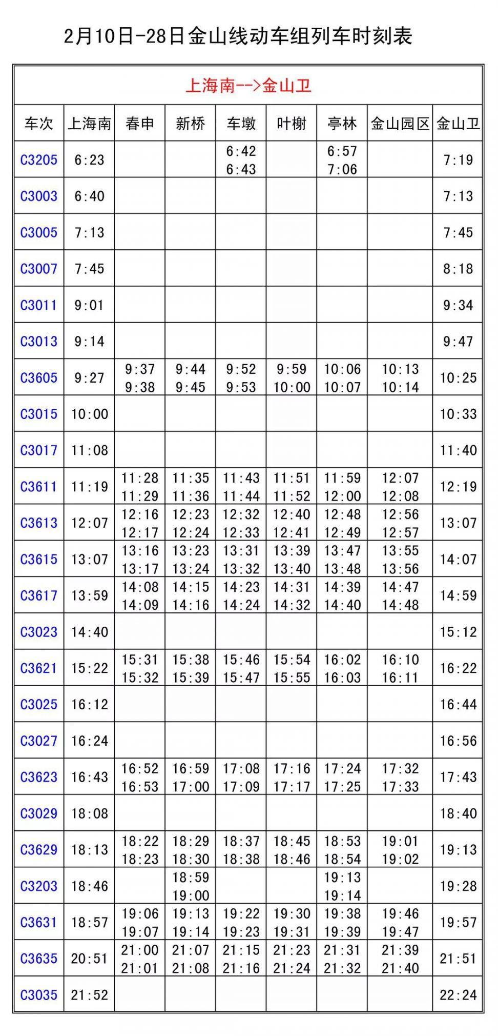上海金山铁路2月10日至28日列车开行时刻表