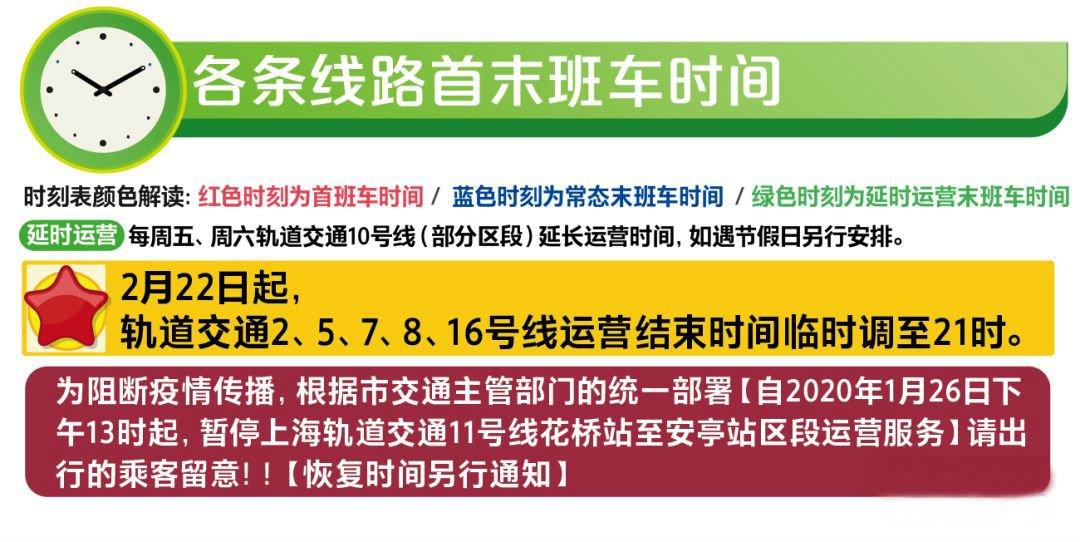 最新上海地铁首末班车时刻表 (2月22日启用)