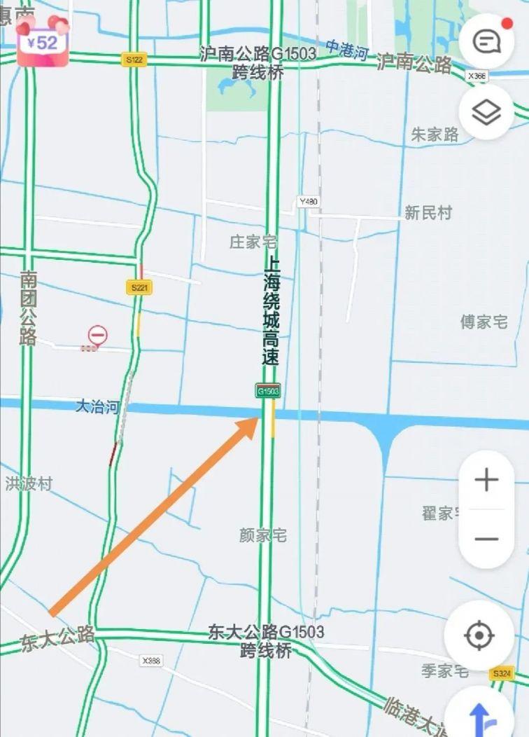 上海G1503高速公路部分区段施工封闭