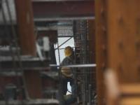 北京CBD中国尊在建大楼 工人们在高温
