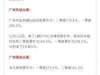 广州到潮汕高铁票价2019年12月1日起有调