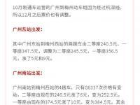 广州到梅州高铁票价多少?12月1日起部分