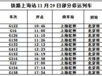 11月29日 上海虹桥站停运11趟京沪高铁