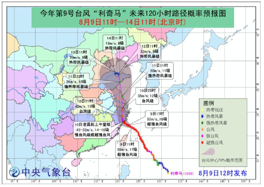 2019年9号台风利奇马最新消息