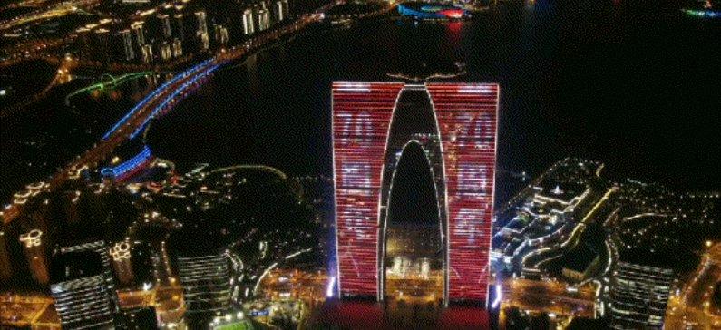 苏州金鸡湖东方之门灯光秀十一国庆假期开放时间