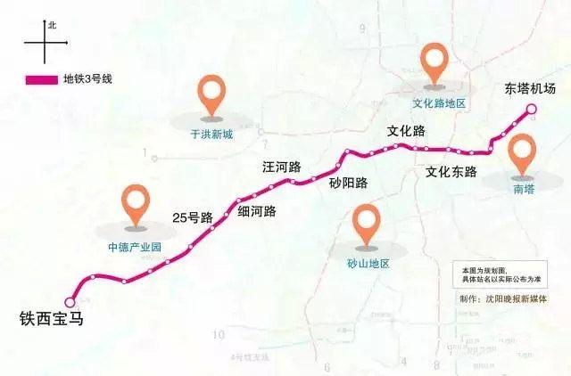 沈阳地铁3号线线路图图片