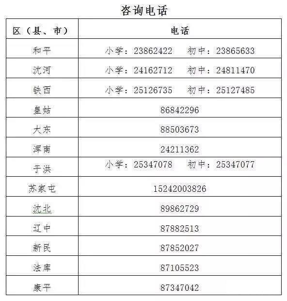 2018沈阳幼升小各区咨询电话一览