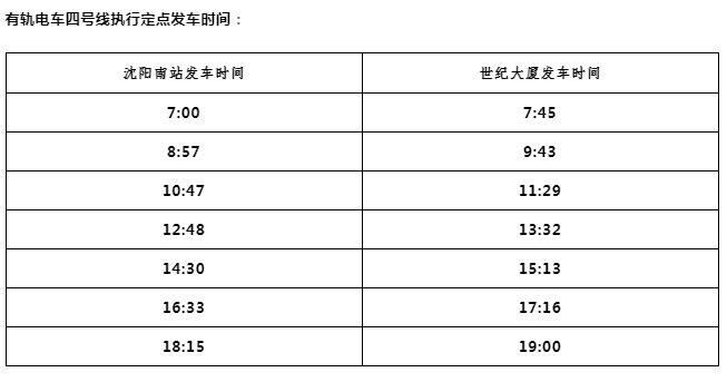 沈陽有軌電車4號線時刻表+站點