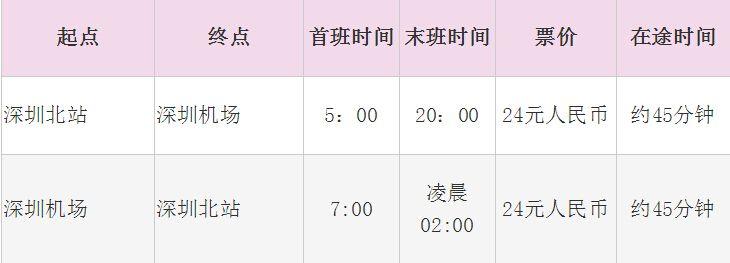 深圳机场大巴330时刻表(2015最新)