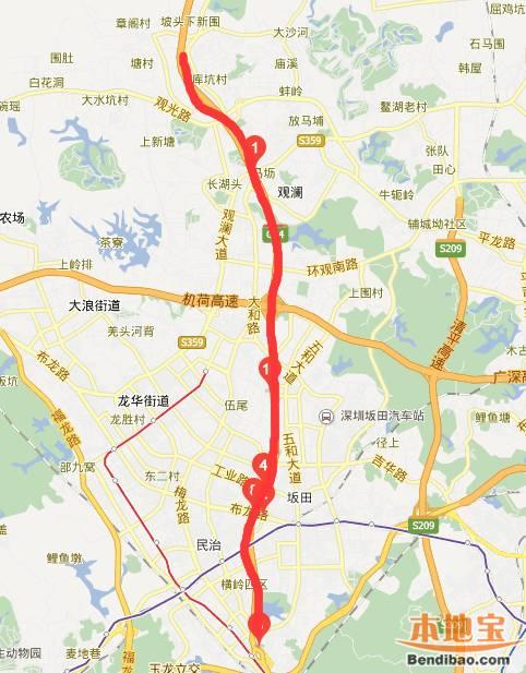 深圳梅观高速交通指南 限速 出入口 地图