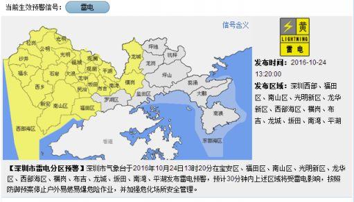 天氣       深圳市氣象臺于2016年10月24日13時20分在寶安區,福田區圖片