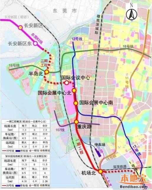 深圳地铁20号线 福永线 线路图