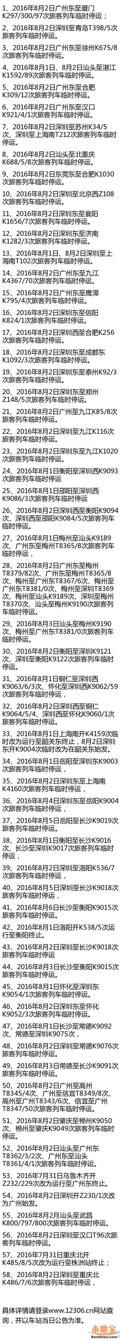 4号台风导致深圳大批火车停运 深圳站深圳东站长途火车明日全部停运