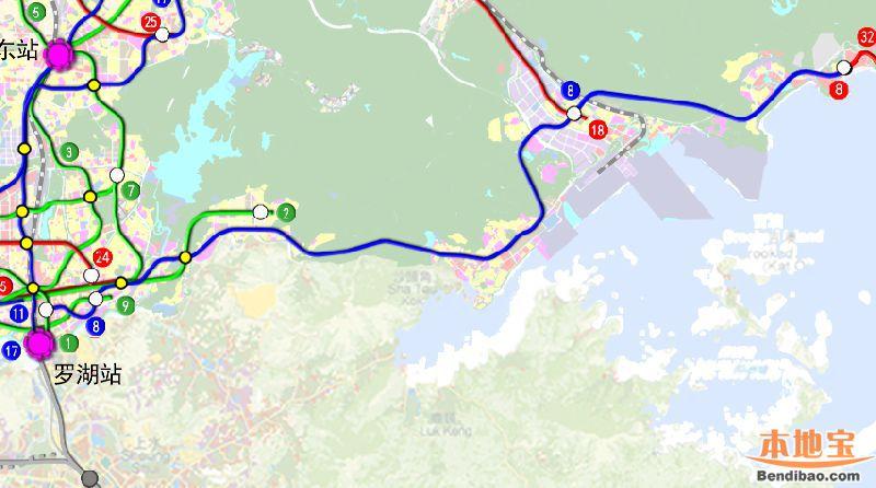 深圳地铁8号线一期最新站点 2020年市内通达盐田
