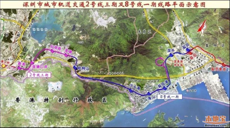 深圳地铁8号线、2号线三期工程进展(2018年9月底)