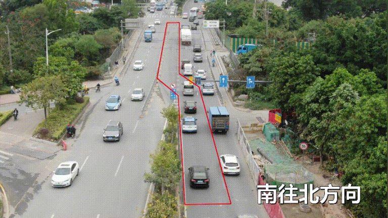 2021深圳龍崗區布瀾路潮汐車道設置情況