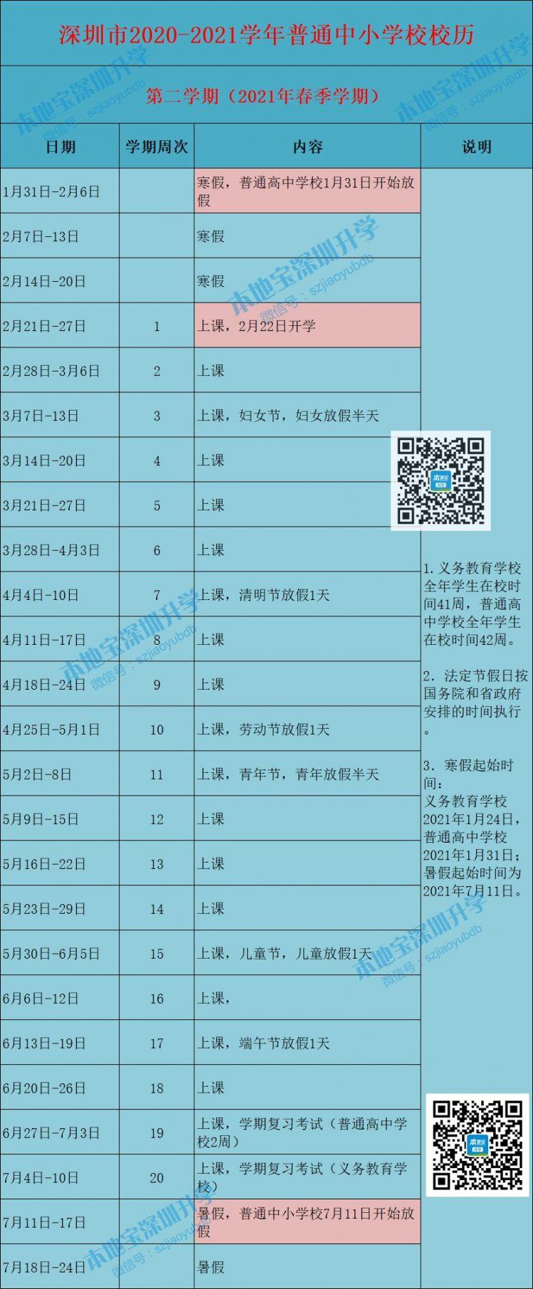 深圳市2020-2021学年普通中小学校校历