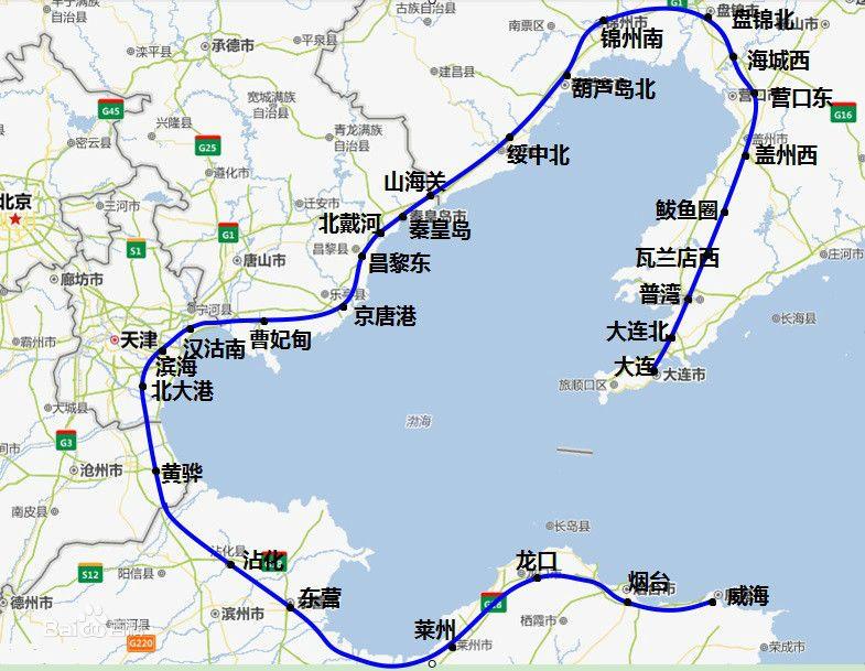 环渤海城际铁路线路图