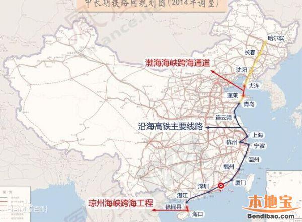 沿海通道高铁规划确定 将途径天津贯穿11省市