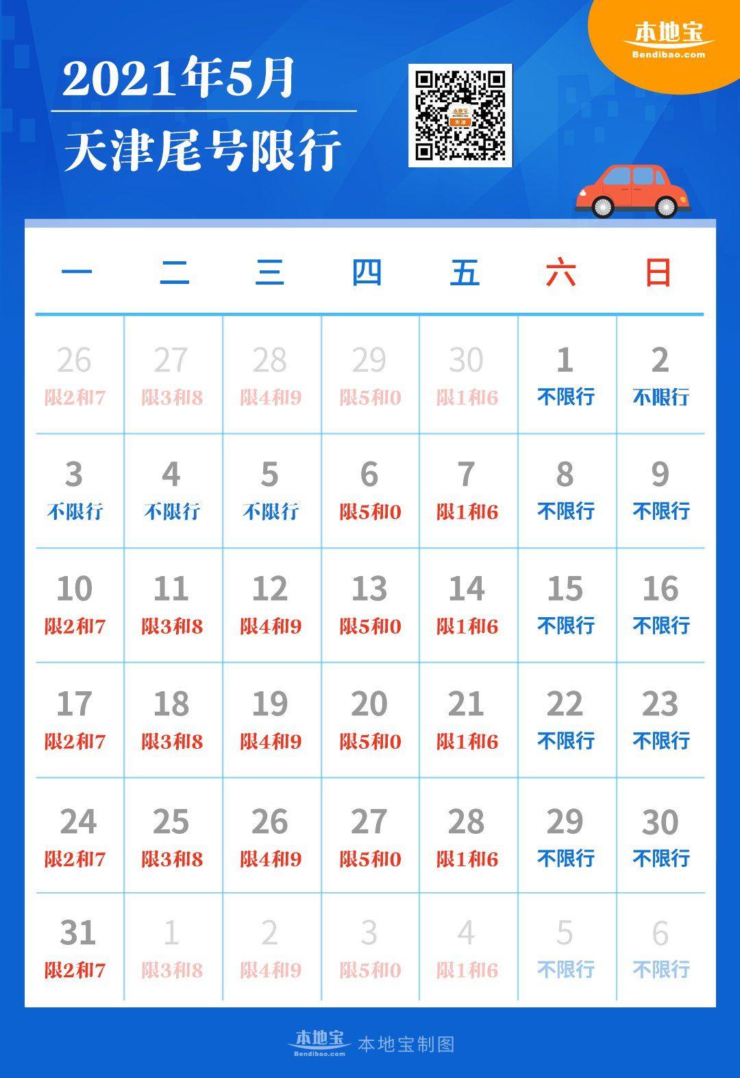 天津限号2021最新限号5月表