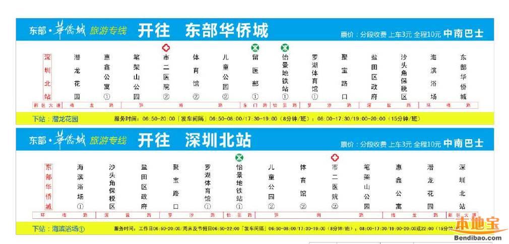 深圳北站到东部华侨城旅游专线车开通(时刻表+票价)
