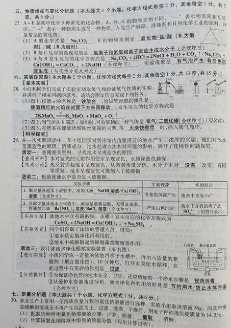 2020山西省太原市化学试卷真题(附答案)
