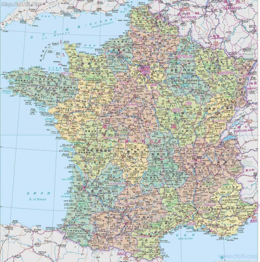 法国地图中文版全图高清版大地图(点击查看大图)