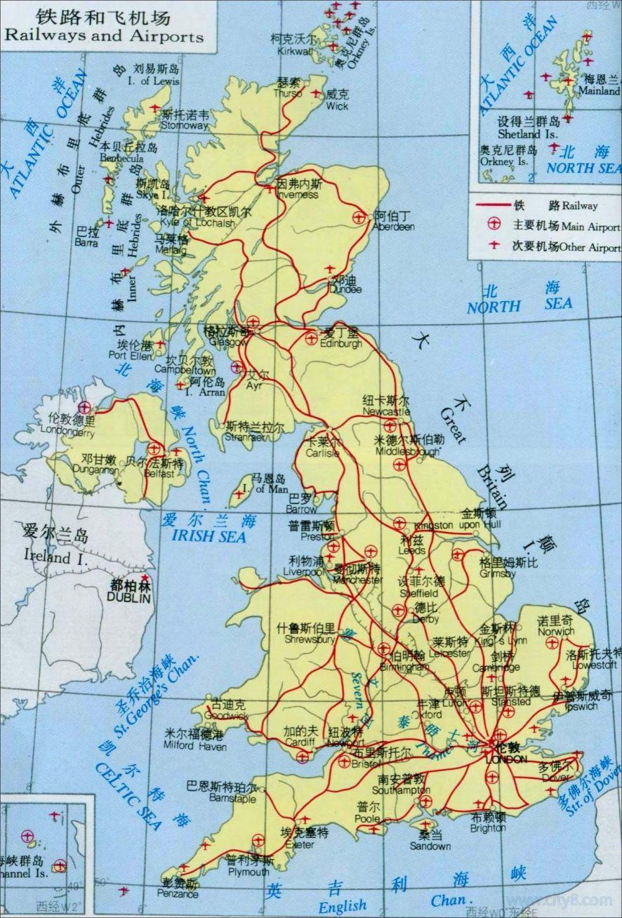 英国铁路和飞机场地图高清版