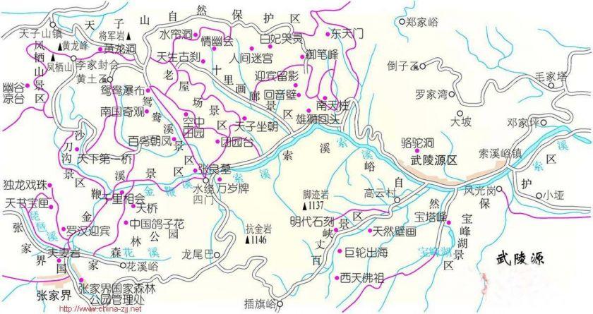 张家界景点地图预览- 武汉本地宝图片