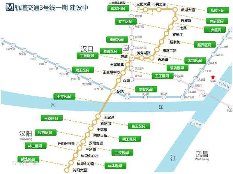 武汉地铁3号线周边好玩的地方
