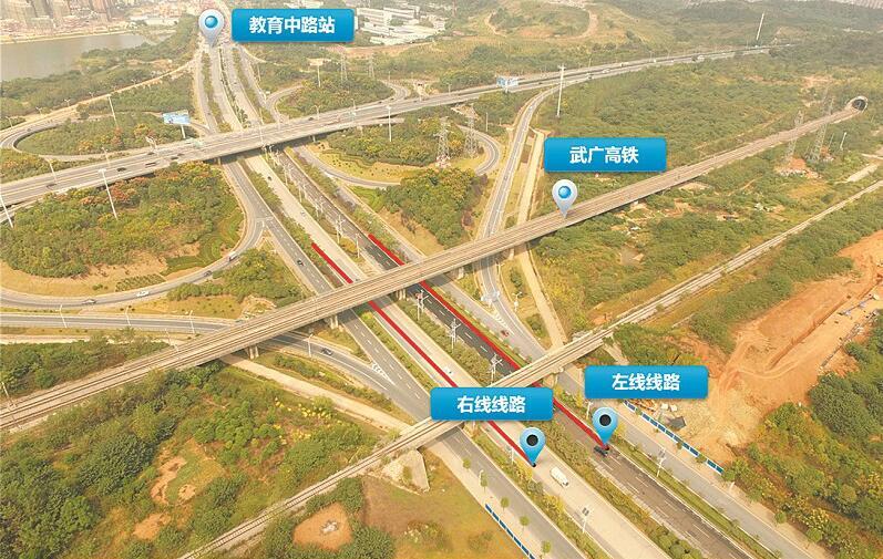 武汉地铁11号线和京广高铁擦肩而过最近仅8米