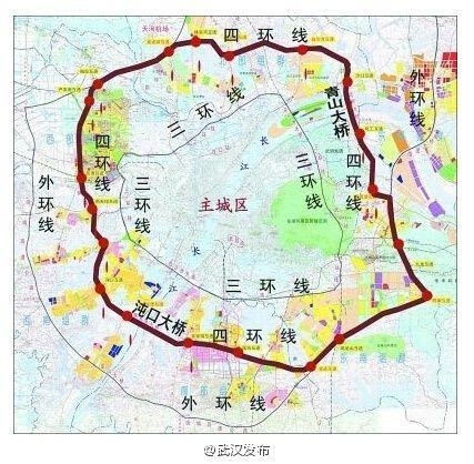 武汉四环线规划图及线路具体位置图示 附高清图