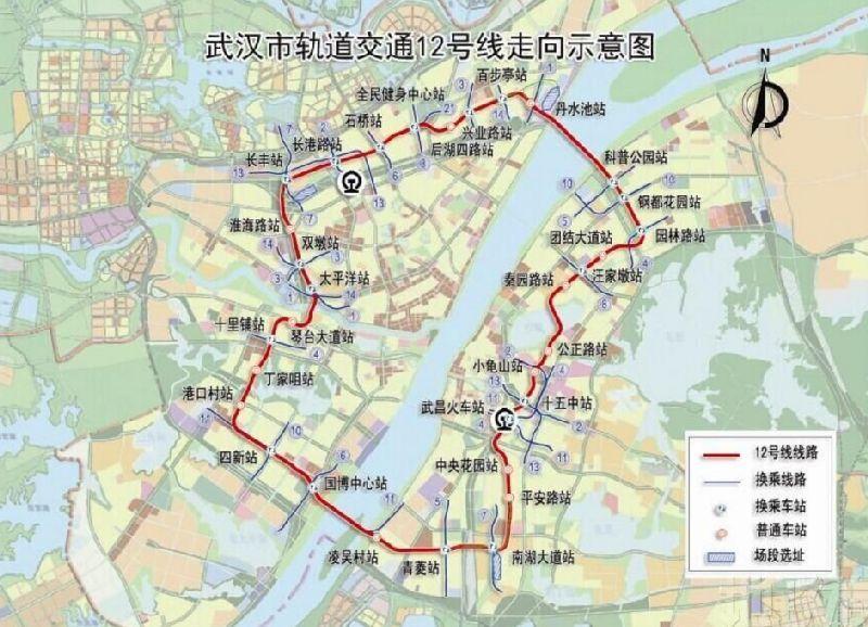 武汉地铁12号线最新线路图图片